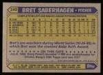 1987 Topps #140  Bret Saberhagen  Back Thumbnail