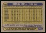 1987 Topps #545  Buddy Bell  Back Thumbnail