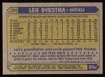 1987 Topps #295  Len Dykstra  Back Thumbnail