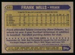 1987 Topps #551  Frank Wills  Back Thumbnail