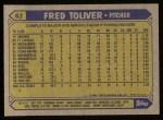 1987 Topps #63  Fred Toliver  Back Thumbnail