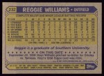 1987 Topps #232  Reggie Williams  Back Thumbnail