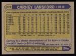 1987 Topps #678  Carney Lansford  Back Thumbnail