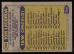 1987 Topps #493  Tommy Lasorda  Back Thumbnail