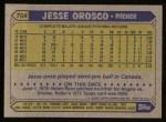 1987 Topps #704  Jesse Orosco  Back Thumbnail