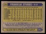 1987 Topps #292  Franklin Stubbs  Back Thumbnail