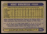 1987 Topps #229  Mike Birkbeck  Back Thumbnail