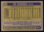 1987 Topps #675  Ed Romero  Back Thumbnail