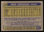 1987 Topps #225  Mike Smithson  Back Thumbnail
