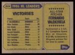1987 Topps #604   -  Fernando Valenzuela All-Star Back Thumbnail