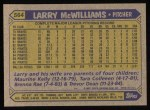 1987 Topps #564  Larry McWilliams  Back Thumbnail