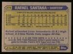 1987 Topps #378  Rafael Santana  Back Thumbnail