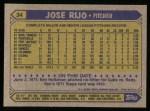 1987 Topps #34  Jose Rijo  Back Thumbnail