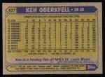 1987 Topps #627  Ken Oberkfell  Back Thumbnail
