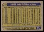1987 Topps #770  Dave Winfield  Back Thumbnail