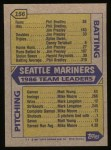 1987 Topps #156   Mariners Team Back Thumbnail