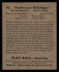 1939 Play Ball #50  Charlie Gehringer  Back Thumbnail