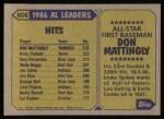 1987 Topps #606   -  Don Mattingly All-Star Back Thumbnail