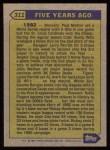 1987 Topps #311   -  Rickey Henderson Turn Back The Clock Back Thumbnail