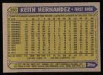 1987 Topps #350  Keith Hernandez  Back Thumbnail