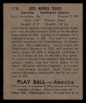 1939 Play Ball #114  Cecil Travis  Back Thumbnail