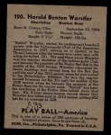 1939 Play Ball #120  Harold Warstler  Back Thumbnail