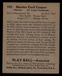 1939 Play Ball #131  Mort Cooper  Back Thumbnail