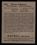 1939 Play Ball #144  Zeke Bonura  Back Thumbnail