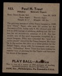 1939 Play Ball #153  Dizzy Trout  Back Thumbnail