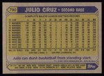 1987 Topps #790  Julio Cruz  Back Thumbnail