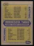1987 Topps #206   Twins Team Back Thumbnail