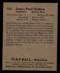 1939 Play Ball #155  James Outlaw  Back Thumbnail