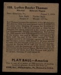 1939 Play Ball #158  Bud Thomas  Back Thumbnail