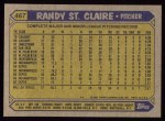 1987 Topps #467  Randy St.Claire  Back Thumbnail