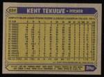 1987 Topps #684  Kent Tekulve  Back Thumbnail