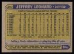 1987 Topps #280  Jeff Leonard  Back Thumbnail