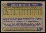 1987 Topps #501  Craig Lefferts  Back Thumbnail