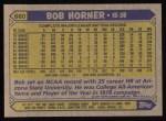 1987 Topps #660  Bob Horner  Back Thumbnail