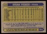 1987 Topps #316  Brian Fisher  Back Thumbnail