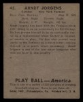 1939 Play Ball #42  Arndt Jorgens  Back Thumbnail