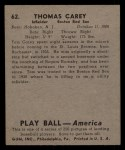 1939 Play Ball #62  Tom Carey  Back Thumbnail