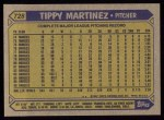 1987 Topps #728  Tippy Martinez  Back Thumbnail