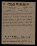 1939 Play Ball #75  Frenchy Bordagaray  Back Thumbnail