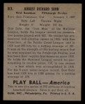1939 Play Ball #83  Gus Suhr  Back Thumbnail