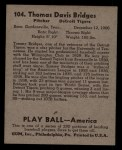 1939 Play Ball #104  Tommy Bridges  Back Thumbnail