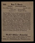 1939 Play Ball #123  Peaches Davis  Back Thumbnail