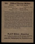 1939 Play Ball #125  Cliff Melton  Back Thumbnail