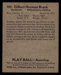 1939 Play Ball #127  Gil Brack  Back Thumbnail