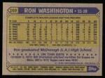 1987 Topps #169  Ron Washington  Back Thumbnail