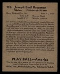 1939 Play Ball #128  Joe Bowman  Back Thumbnail